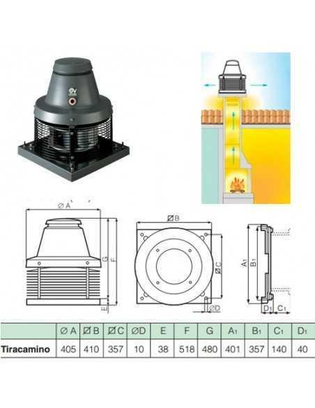 Aspiratore tiracamino da tetto con regolatore di velocità Vortice 15000 Tiracamino TC 10 M, 750 m3/h di portata, MADE IN ITALY