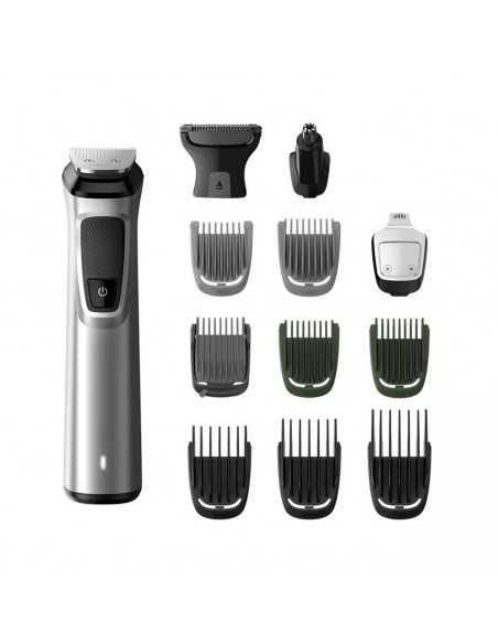 Rasoio Rifinitore Ricaricabile Wet&Dry per barba, capelli, peli corpo, naso con 13 accessori Philips Multigroom MG7715/15,