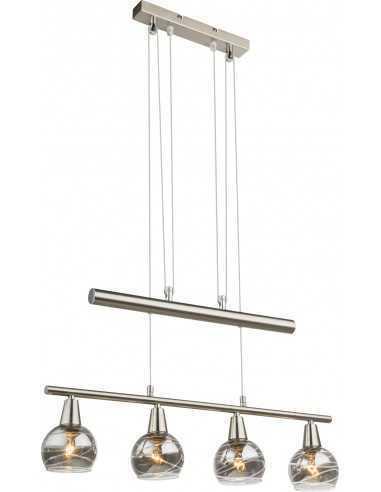 Sospensione moderna con vetri fumé decorati struttura cromo satinato regolabile in altezza Globo Lighting Roman 54348-4Z, 4 E14