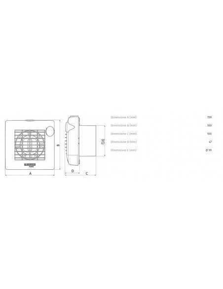 Vortice 11203 Aspiratore elicoidali da muro, 12V, tubo da 10cm, potenza di 15W