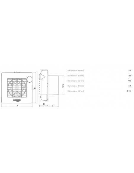 """Aspiratore da muro con timer diametro 120 mm Vortice 11311 M120/5"""" AT, Portata 175 m3/h, Alette automatiche, MADE IN ITALY IMQ"""