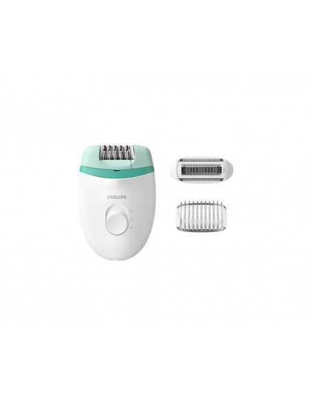Epilatore Satinelle compatto con testina epilazione e rasatura Philips BRE245/00, 2 Velocità, Pettine regola altezza, Ergonomico