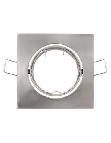 Faretto incasso quadrato cromo satinato orientabile per foro diametro 75 mm Lampo Lighting DIKORSQ230/IN/SL, Portalampada GU10