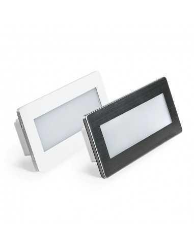 Segnapasso LED 5W Anti Black out Luce calda Lampo Lighting SPLEDEM506BC, Autonomia 3,5 ore, Bianco o Acciaio Inox, 280 Lumen