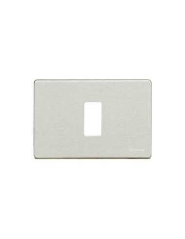 Placca Cromo spazzolato Bticino Magic 503/1/X 1 Posto, 1 Modulo, Realizzata in Alluminio Anodizzato, Serie Civili, MADE IN ITALY