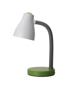 Lampada da scrivania bianca e verde ideale per camera di bambini e ragazzi Perenz 6036VE, Plastica resistente, 1 E27, IP20