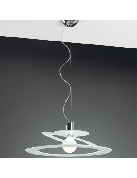 Sospensione moderna Cattaneo Cinderella 730/55S con diffusore in lastra di vetro chiaro, 1 E27, MADE IN ITALY, Diametro 55cm