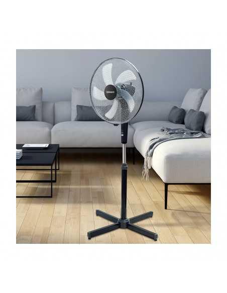 Ventilatore a piantana Nera 120 cm Termozeta TZAZ02, 5 pale semitrasparenti, Altezza regolabile, 3 Velocità, 50W: Coppolav.it