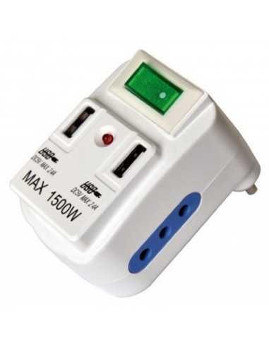Spina adattatore con due prese USB 2.1A e due prese 10A Melchioni 492519352, Interruttore e indicatore luminoso, Presa 10A