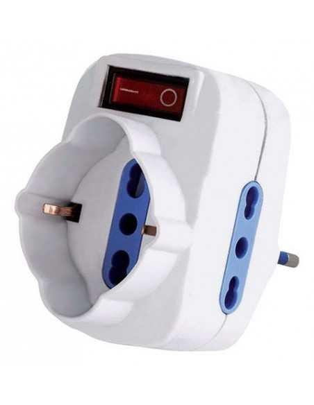 Spina adattatore multiplo rotante con interruttore LED Melchioni 492518057, 1 Presa Tedesca/Bipasso e 2 Prese bipasso 10/16A