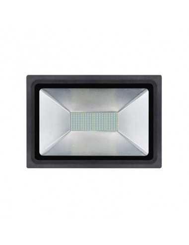 Faro LED 100W Luce Calda per esterni IP65 Melchioni 499046516, 7000 Lumen, 3200K, Alluminio Nero: Coppolav.it