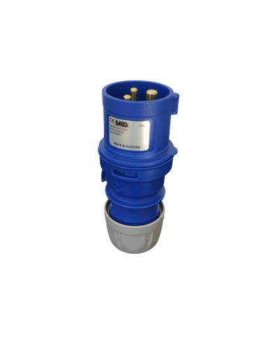 Spina industriale CEE 2P+T 16A 230V, IP44 con cablaggio a vite FAEG FG23501, Spinotti ad alveoli in ottone, Blu, MADE IN AUSTRIA