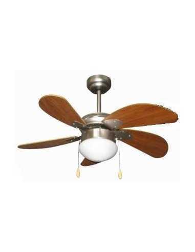 Ventilatore a soffitto con luce Zephir ZFS576M|5 pale in legno|3 velocità|Funzione reversibilità|E27|Coppolav.it: Ventilazione